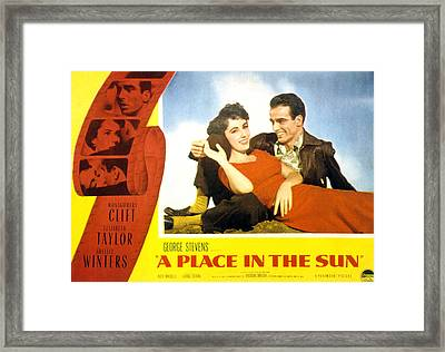 A Place In The Sun, Elizabeth Taylor Framed Print by Everett
