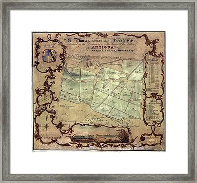 A Plan Of An English Colonists Estate Framed Print by Everett