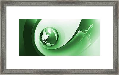 A Plane Flying Around The Earth Framed Print by Ralf Hiemisch