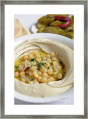 A Plate Of Ready To Eat Hummus  Framed Print by Ilan Amihai