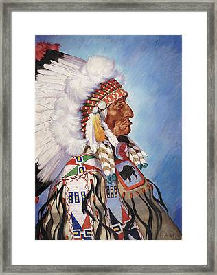 A Portrait Of 95-year Old Sioux Chief Framed Print by W. Langdon Kihn