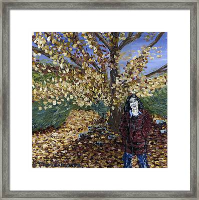 Framed Print featuring the painting A Portrait Of The Artist's Mother In Autumn by Denny Morreale