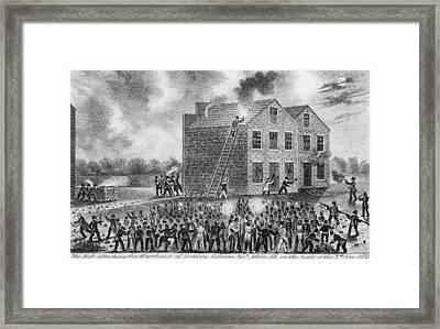 A Pro-slavery Mob Burning Framed Print by Everett