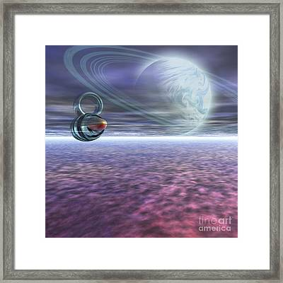 A Probe From Earth Is Sent To Jupiter Framed Print by Corey Ford