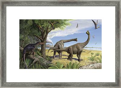 A Raptor Stalks A Pair Of Grazing Framed Print by Sergey Krasovskiy