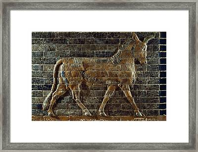 A Relief Depicts A Bull Framed Print by Lynn Abercrombie