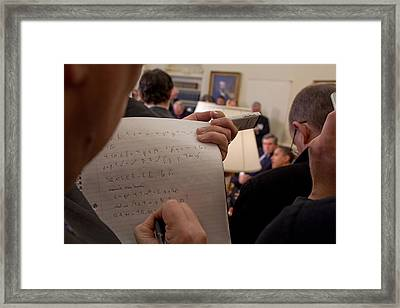 A Reporter Takes Shorthand Notes While Framed Print by Everett