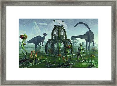 A Reptoid Alien Colonist At Work Framed Print