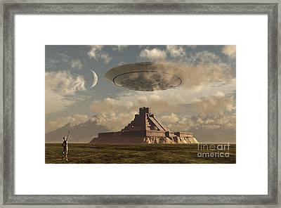 A Reptoid Greets An Incoming Flying Framed Print by Mark Stevenson