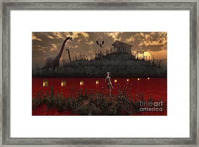 A Reptoid Looks Across The River Framed Print by Mark Stevenson