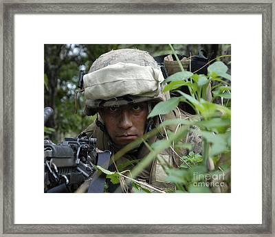 A Rifleman Conceals Himself Framed Print by Stocktrek Images