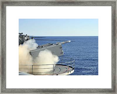 A Rim-7 Sea Sparrow Is Launched Framed Print by Stocktrek Images