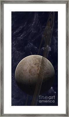 A Ringed Planet In Front Of An Odd Framed Print