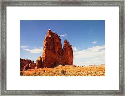 A Rock At Arches Framed Print by Jeff Swan