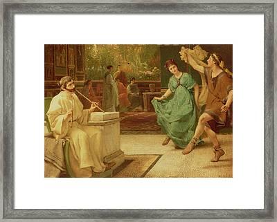 A Roman Dance Framed Print by Sir Lawrence Alma-Tadema