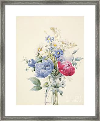 A Rose Anemone Mignonette And Daisies Framed Print by Nathalie d Esmenard