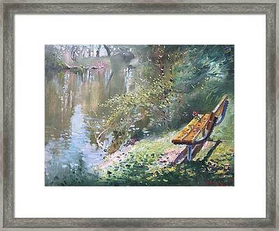 A Rose On The Bench Framed Print
