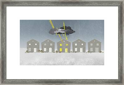 A Row Of Houses With A Storm Cloud Over One House Framed Print