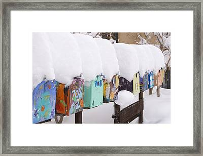 A Row Of Mailboxes In Winter Framed Print by Ralph Lee Hopkins