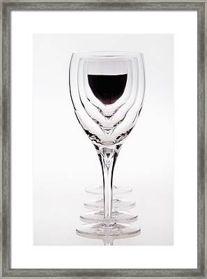 A Row Of Wine Glasses With Red Wine In Framed Print