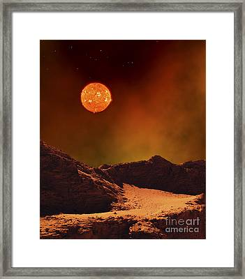 A Rugged Planet Landscape Dimly Lit Framed Print by Frank Hettick