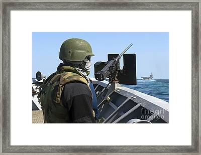 A Sailor Manning A .50-caliber Machine Framed Print