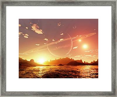 A Scene On A Distant Moon Orbiting Framed Print by Brian Christensen
