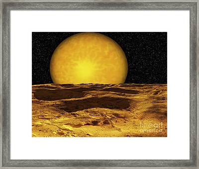 A Scene On A Moon Of Upsilon Andromeda Framed Print by Ron Miller