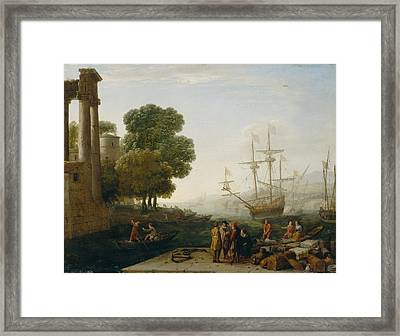 A Seaport At Sunset Framed Print by Claude Lorrain