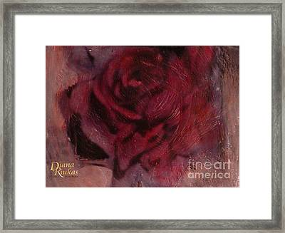 Framed Print featuring the mixed media A Single Rose by Diana Riukas