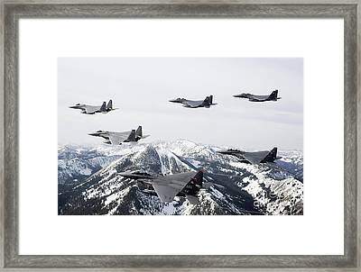 A Six-ship Formation Of Aircraft Fly Framed Print