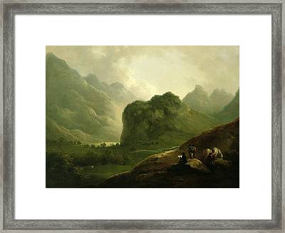 A Sketching Party In The Pass At Borrowdale Framed Print by Julius Caesar Ibbetson