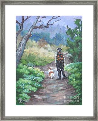 A Slow Walk In The Woods Framed Print by Ann Becker