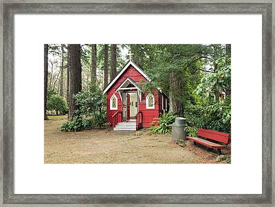A Small Red Chapel In A Forest Portland Or. Framed Print by Gino Rigucci