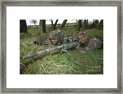 A Sniper Team On The Lookout Framed Print by Andrew Chittock