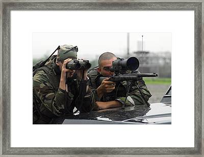 A Sniper Team Search For Opposing Framed Print