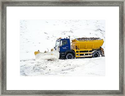 A Snow Plough Clearing A Road Framed Print by Duncan Shaw