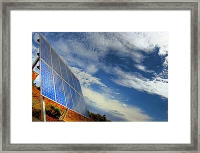 A Solar Panel In The Desert Of South Framed Print by Brooke Whatnall