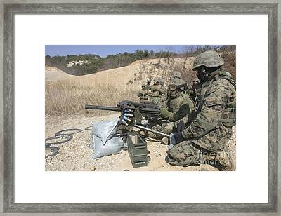 A Soldier Fires A Mk19 40mm Heavy Framed Print