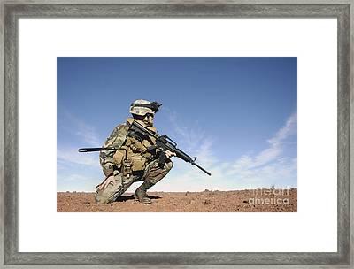 A Soldier Gives Instructions On Setting Framed Print