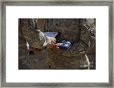 A Soldier Is Presented The American Framed Print by Stocktrek Images