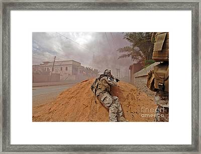 A Soldier Lays Down A Vicious Barrage Framed Print by Stocktrek Images