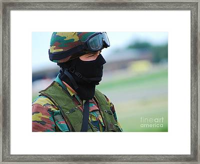 A Soldier Of The Special Forces Group Framed Print by Luc De Jaeger