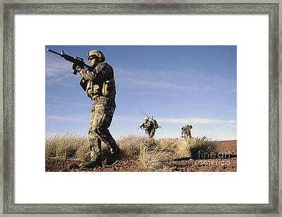 A Soldier Takes Point While Training Framed Print