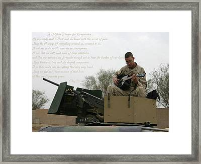 A Soldiers Prayer For Compassion Framed Print by Dennis Welch