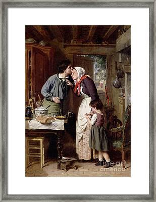 A Son's Devotion Framed Print by Pierre Jean Edmond Castan