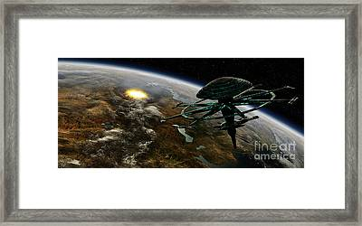A Space Station Orbits A Terrestrial Framed Print