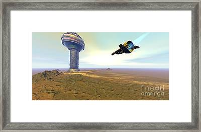A Spacecraft Nears A Spaceport Framed Print by Corey Ford