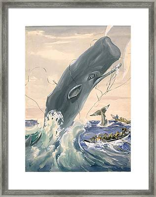 A Sperm Whale Leaps After Being Struck Framed Print by Else Bostelmann