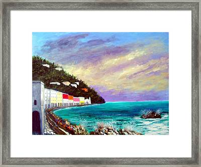 Framed Print featuring the painting A Splash Of The Mediterranean  by Larry Cirigliano